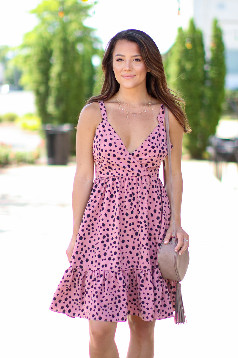 S / Blush Chase the Thrill Leopard Ruffle Dress - FINAL SALE - Madison + Mallory