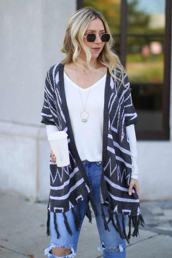 Carrington Fringe Patterned Cardigan - Madison + Mallory
