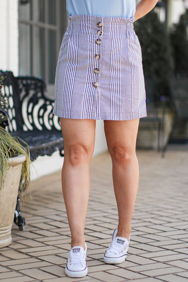 M / Blue On the Dock Striped Button Skirt | CURVE - Madison + Mallory