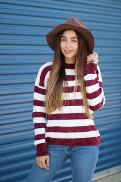 Wine / S Amaya Striped Chenille Sweater - Madison + Mallory
