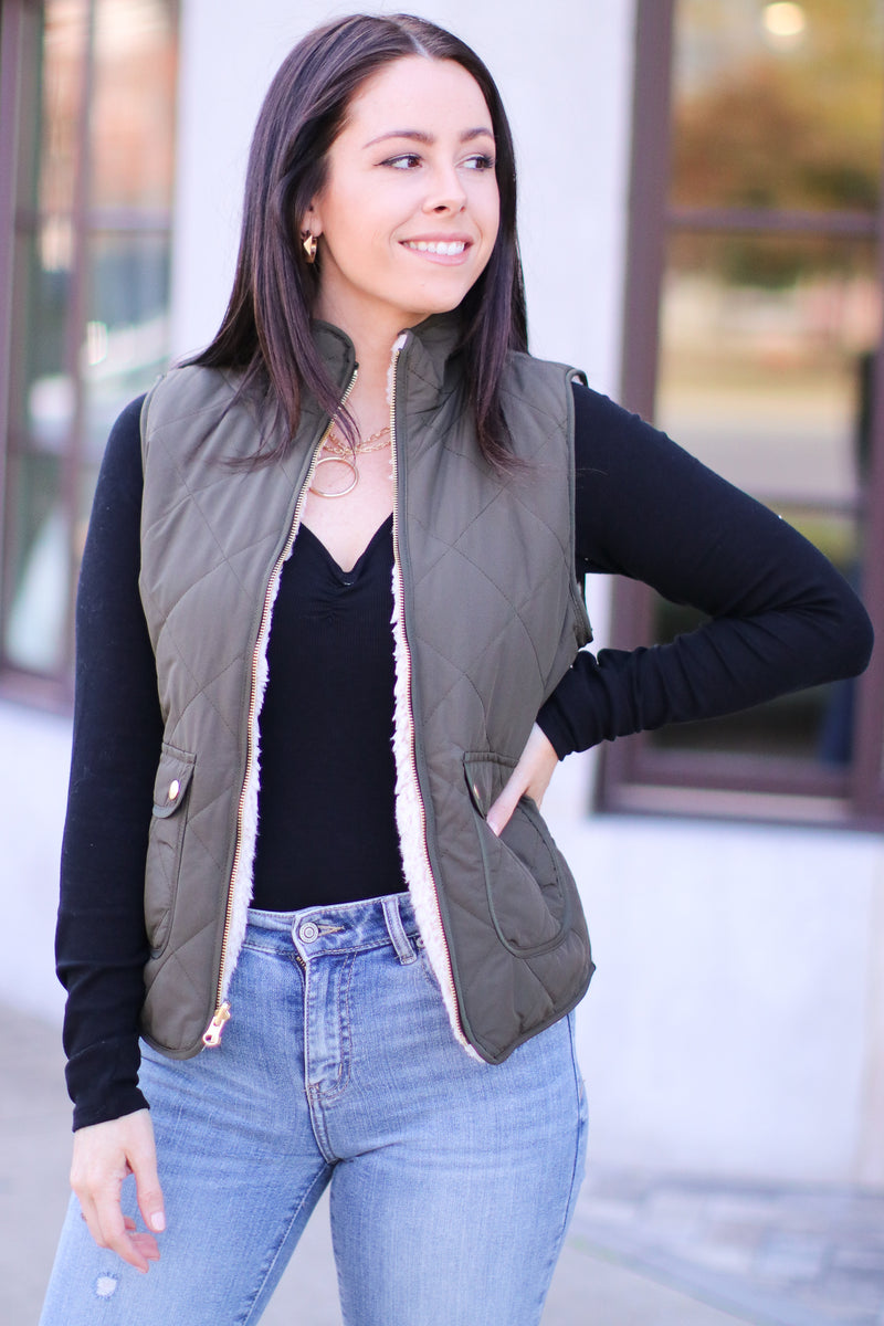 Olive / S Norridge Reversible Sherpa Quilted Vest | Doorbuster - Madison and Mallory