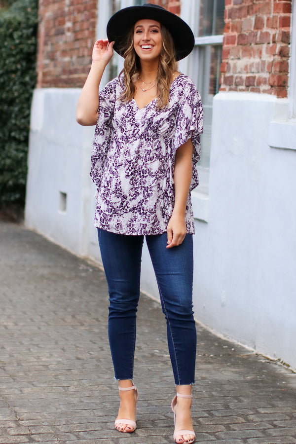 Wonder About It Leopard V-Neck Top - Purple - FINAL SALE - Madison and Mallory