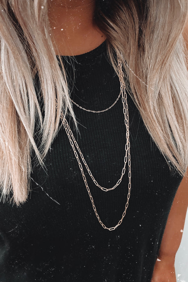 Gold Swansea Layered Chain Necklace - Madison and Mallory