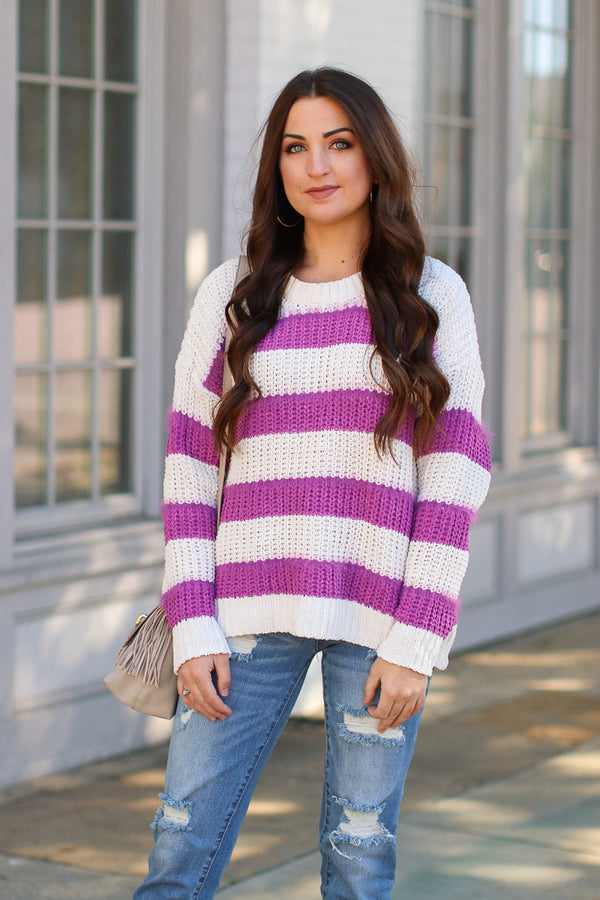 S / Magenta Scope Super Soft Striped Sweater - Madison + Mallory