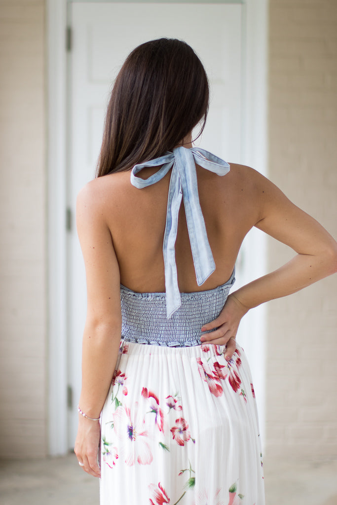 Adalyn Denim Halter Top - Madison + Mallory