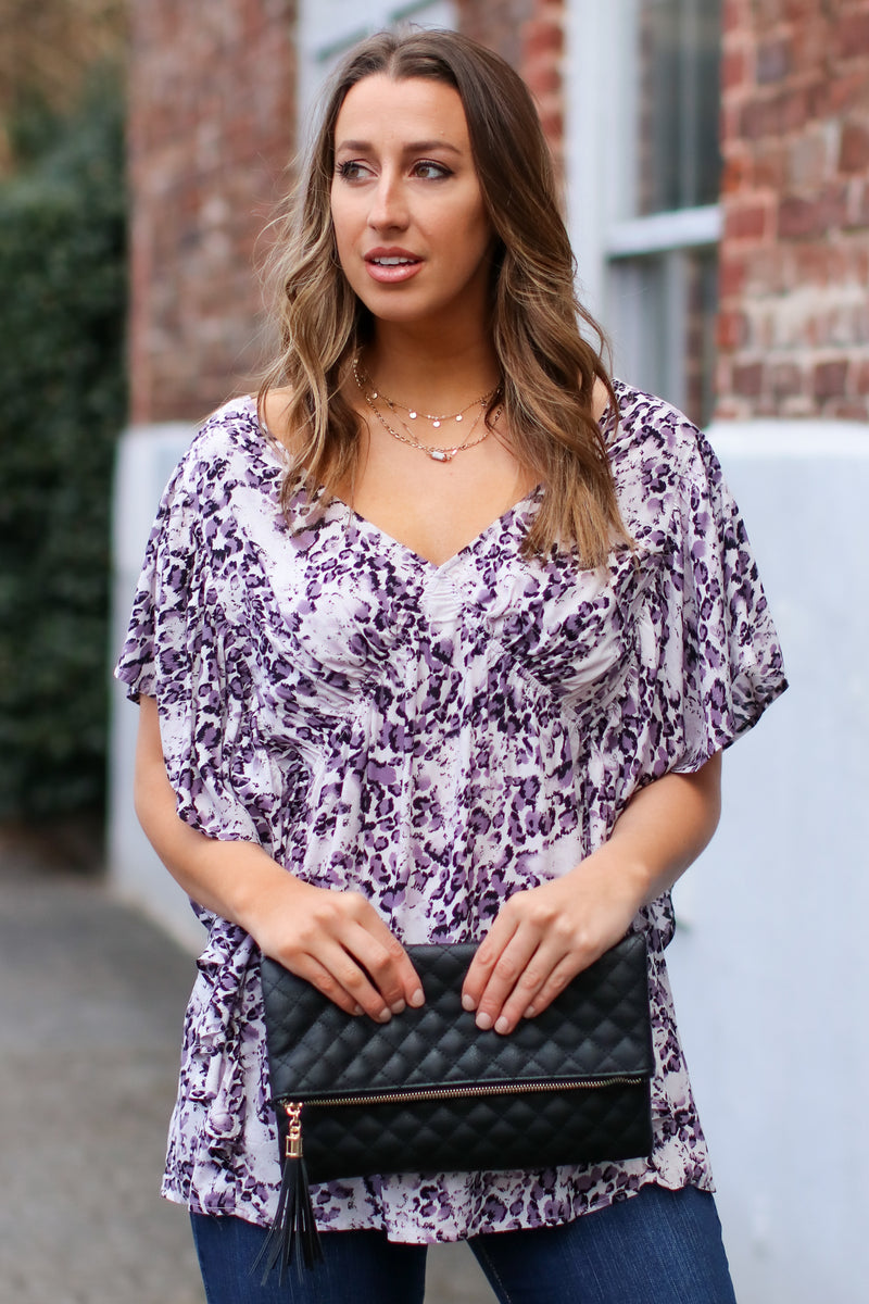 Purple / S Wonder About It Leopard V-Neck Top - Purple - FINAL SALE - Madison and Mallory