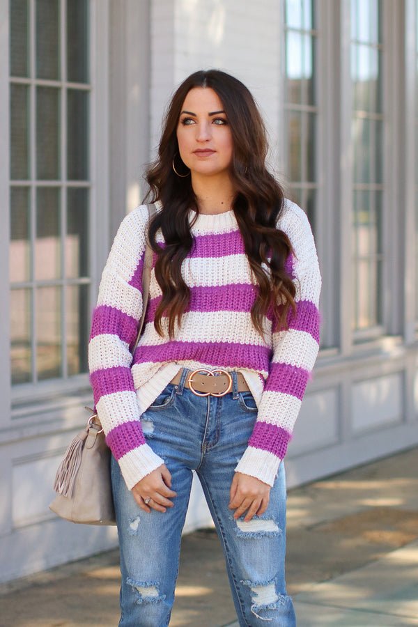 Scope Super Soft Striped Sweater - Madison + Mallory
