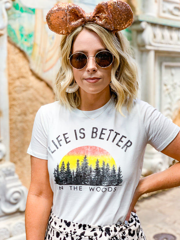 S / Ivory Life is Better in the Woods Graphic Top - Madison + Mallory