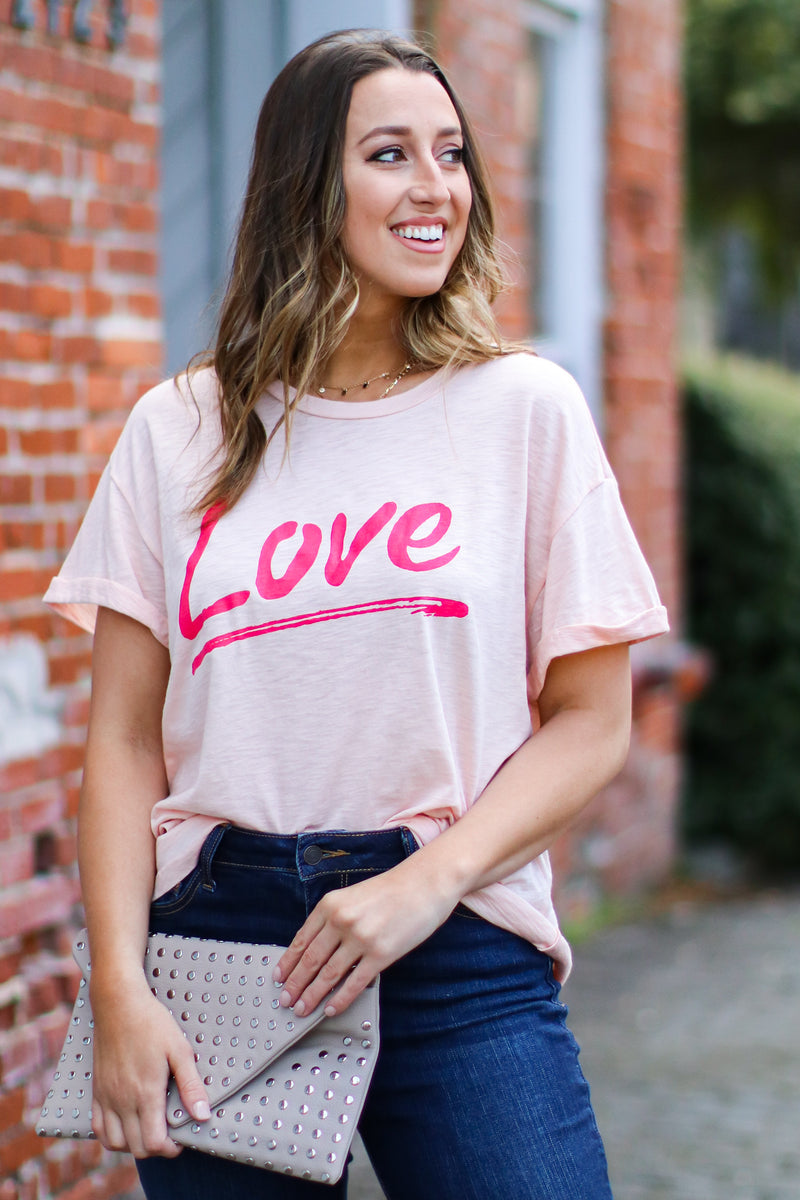 S / Peach Love Vintage Graphic Top - Madison and Mallory