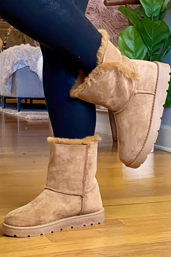 Tan / 5.5 Warming Sign Faux Fur Boots - Madison and Mallory