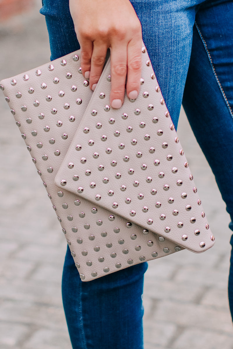 Crowd Pleaser Studded Envelope Crossbody Clutch - Madison and Mallory