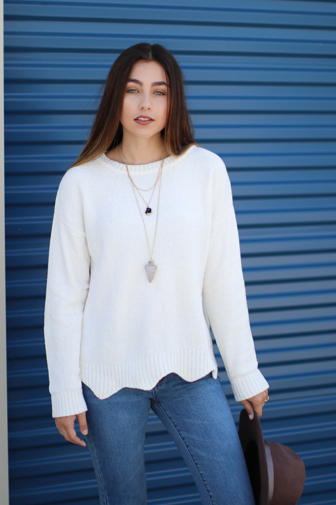 Ivory / S Easton Chenille Scalloped Sweater - Madison + Mallory