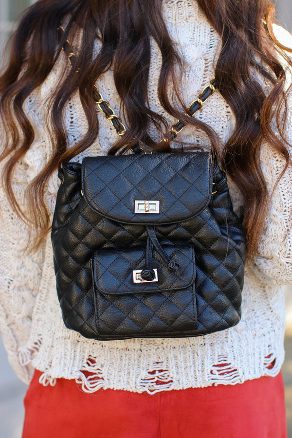 Black Suit Yourself Quilted Backpack - Madison + Mallory