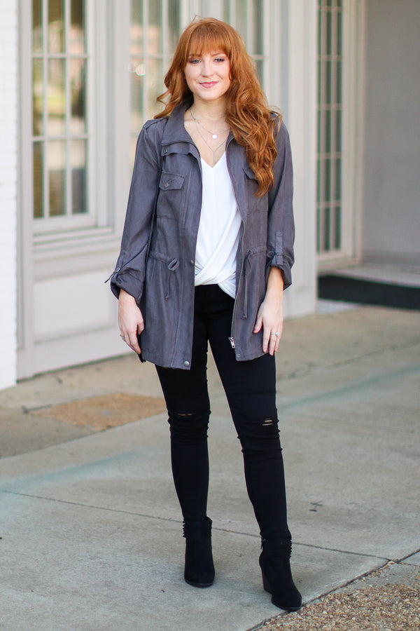 S / Gray Let's Get Out Faux Suede Utility Jacket - Madison + Mallory