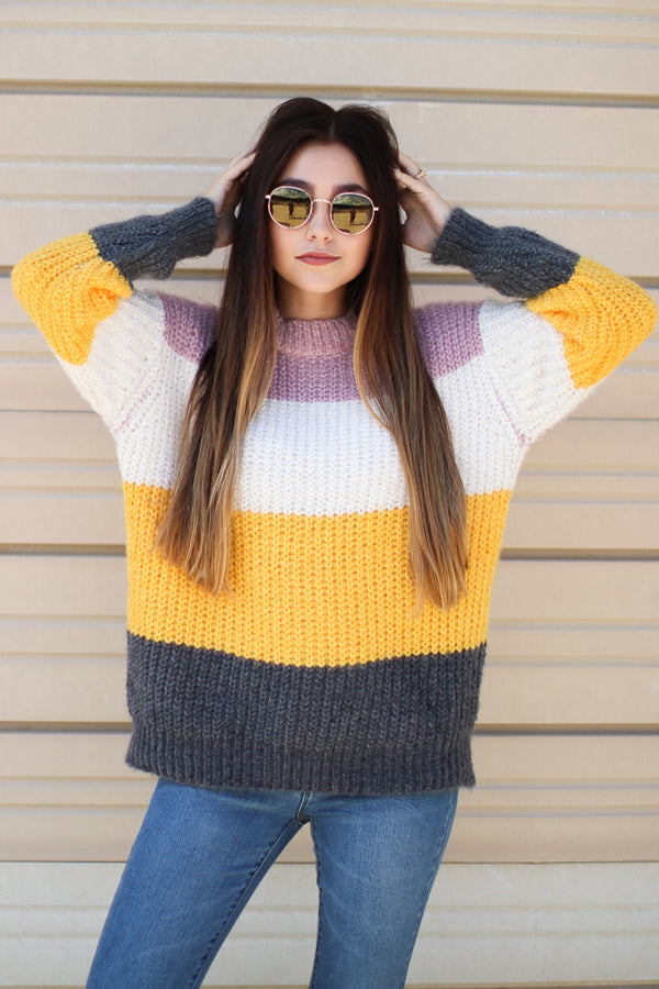 OS / Yellow Multi Jayce Color Block Sweater - Madison + Mallory
