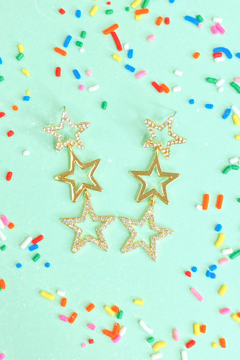 Gold Make Your Wish Star Drop Earrings - Madison and Mallory