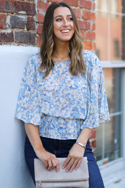 S / Blue Yours To Pick Floral Top - Madison and Mallory