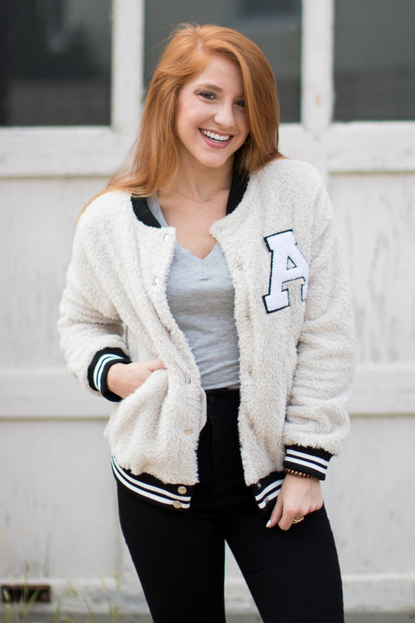 Fuzzy Letterman Varsity Jacket - Madison + Mallory
