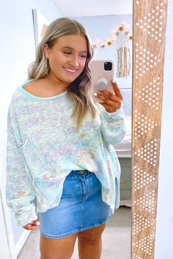 S / Mint Mellow Moment Multi Color Top - Madison and Mallory