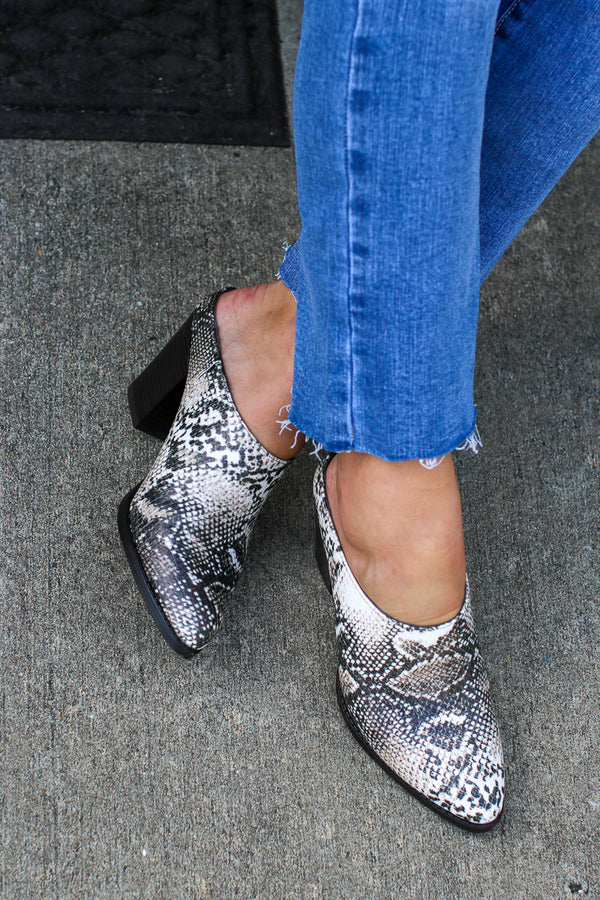 Milano Snake Heel Mules - FINAL SALE - Madison and Mallory