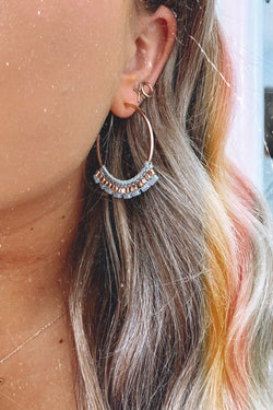 Gray Telia Beaded Wrap Hoop Earrings - Gray - Madison and Mallory