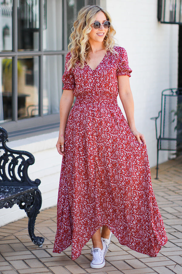 S / Red A Million Dreams Floral Maxi Dress - Madison and Mallory