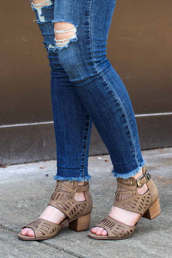 6 / Taupe Abby Laser Cut Buckle Heels - FINAL SALE - Madison + Mallory