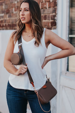 Hamlin Multi Clutch Crossbody Bag - Brown - Madison and Mallory