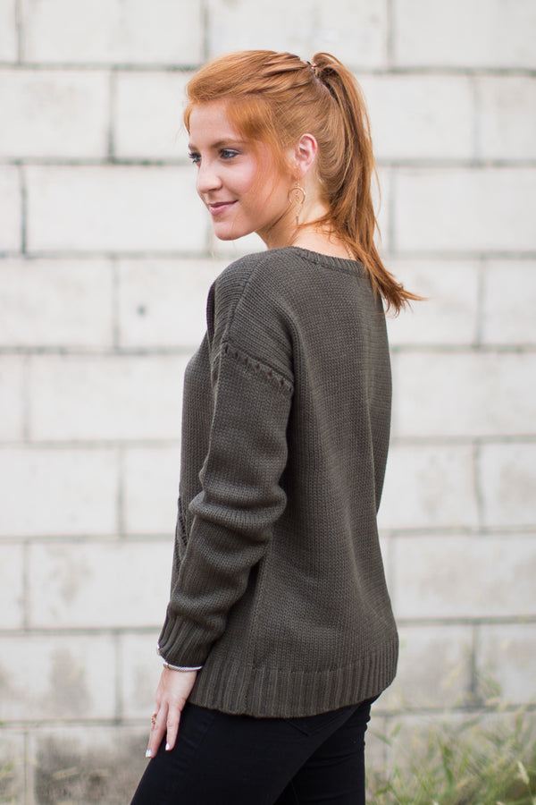 Lace Up Knit Sweater - Madison + Mallory
