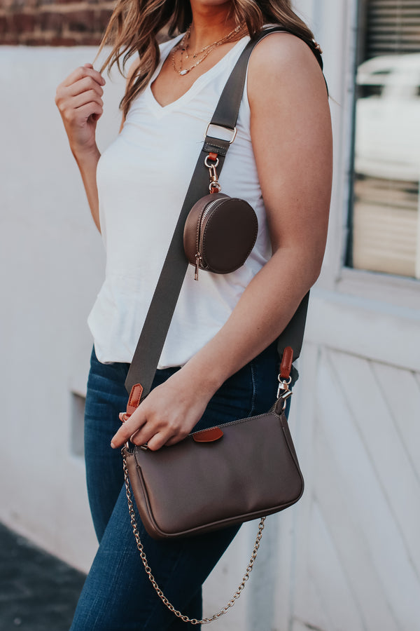 Brown Hamlin Multi Clutch Crossbody Bag - Brown - Madison and Mallory
