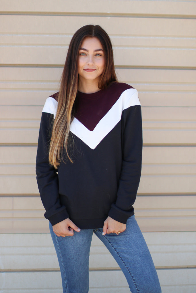 S / Burgundy Eclipse of the Heart Chevron Pullover - Madison + Mallory