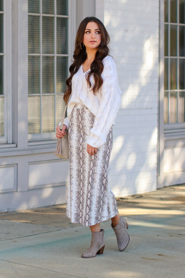 Snake Eyes Midi Skirt - Madison + Mallory
