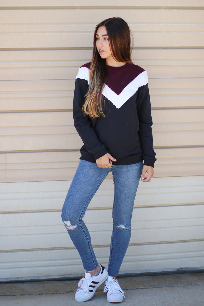 Eclipse of the Heart Chevron Pullover - Madison + Mallory