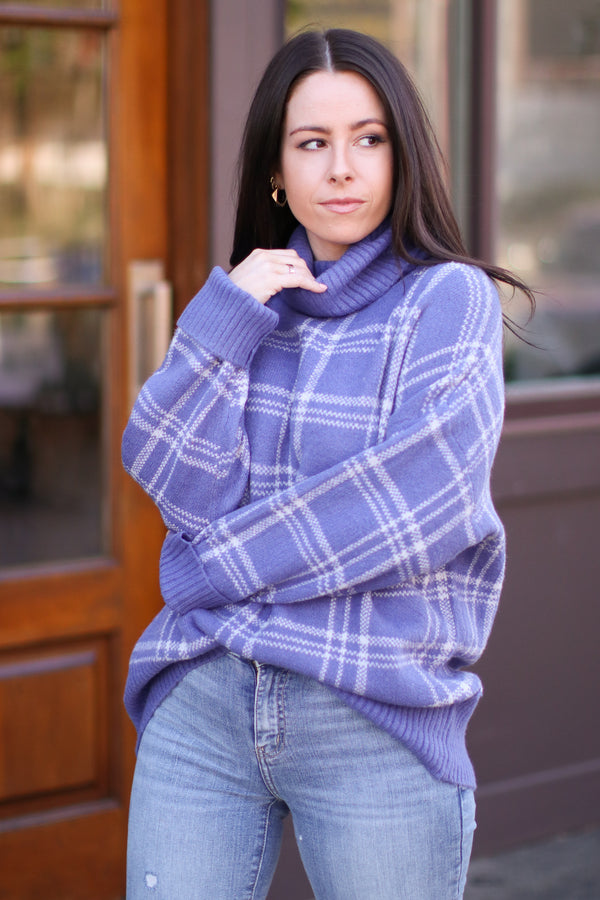 Riverland Plaid Turtleneck Sweater | Doorbuster - Madison and Mallory