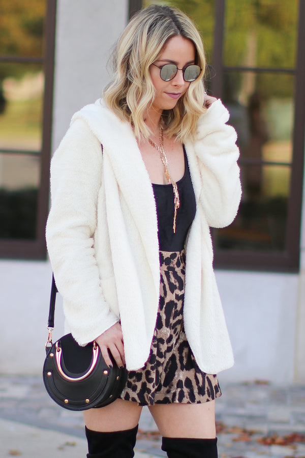 Ivory Zaire Cozy Hooded Cardigan Jacket - Madison + Mallory