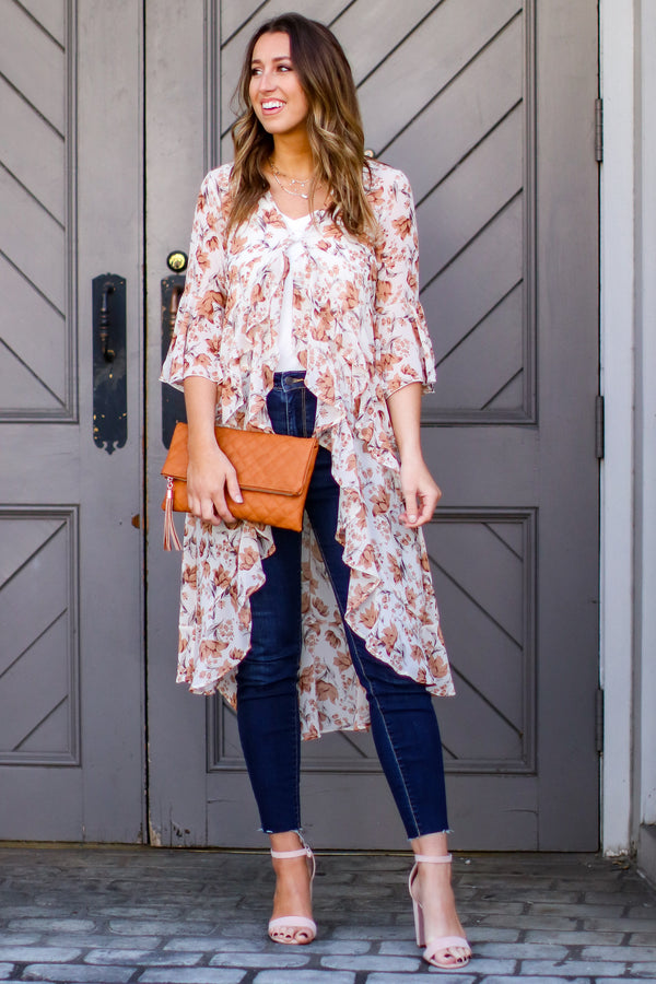 S / Natural Fleur-ty Floral Ruffle Kimono - Madison and Mallory