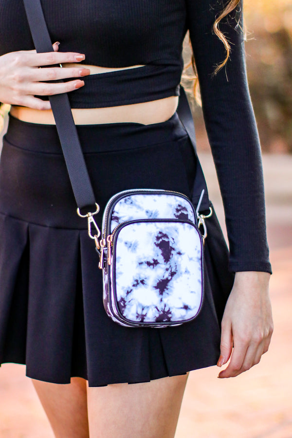 Black Rising Sol Marble Splash Dye Crossbody Bag - Madison and Mallory