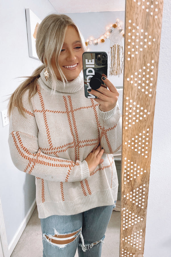 SM / Cream Market Plaid Turtleneck Sweater - Madison and Mallory