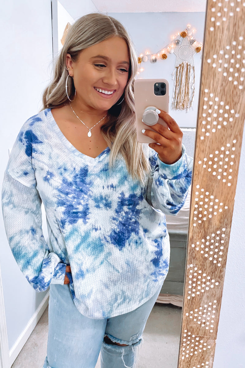 Cool It Tie Dye Waffle Knit Top - Madison and Mallory