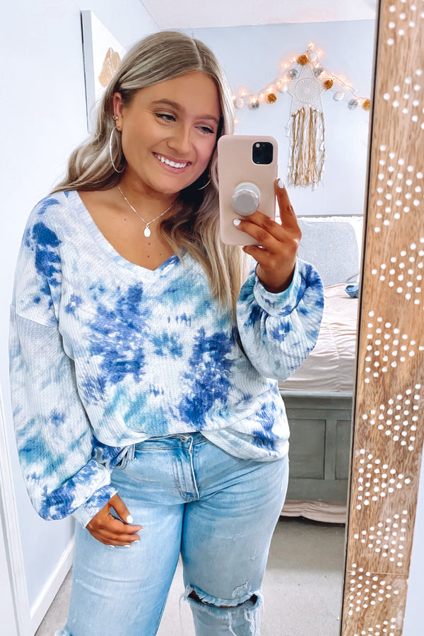 S / Denim/Mint Cool It Tie Dye Waffle Knit Top - FINAL SALE - Madison and Mallory