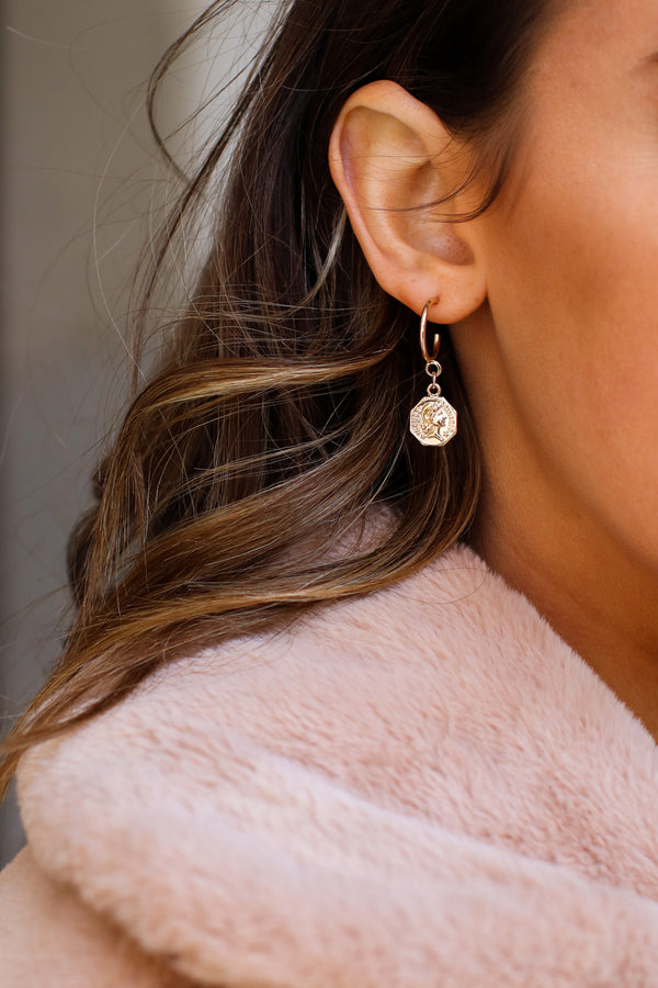Gold Natural Ambition Coin Earring Set - Madison and Mallory