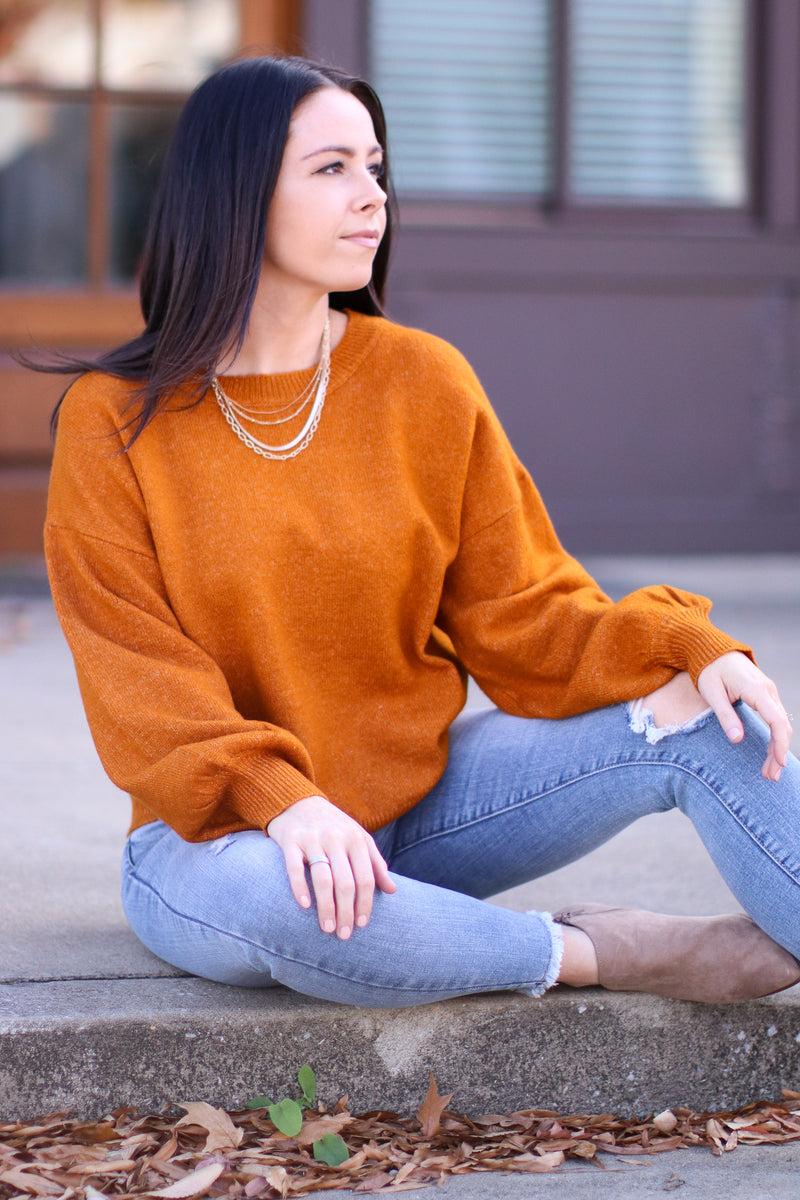 Cinnamon / S Fairlea Balloon Sleeve Sweater | Doorbuster - Madison and Mallory