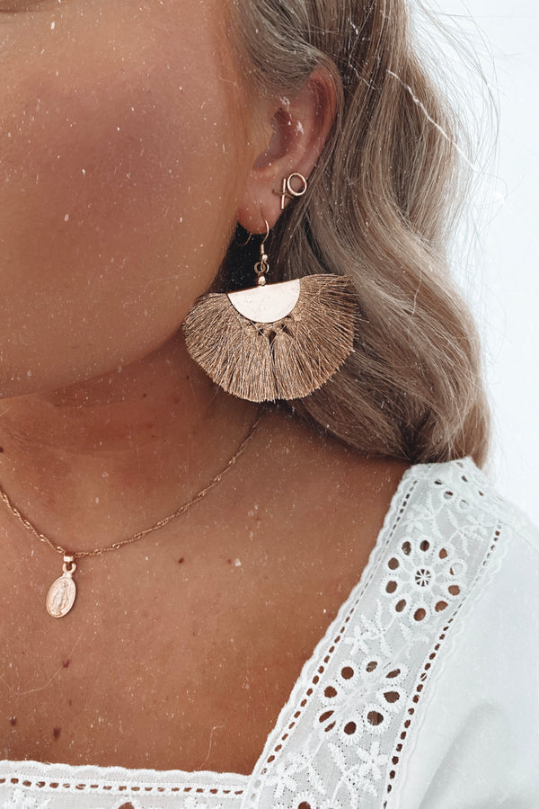 Blush Pirouette Fringe Tassel Earrings - Blush - Madison and Mallory