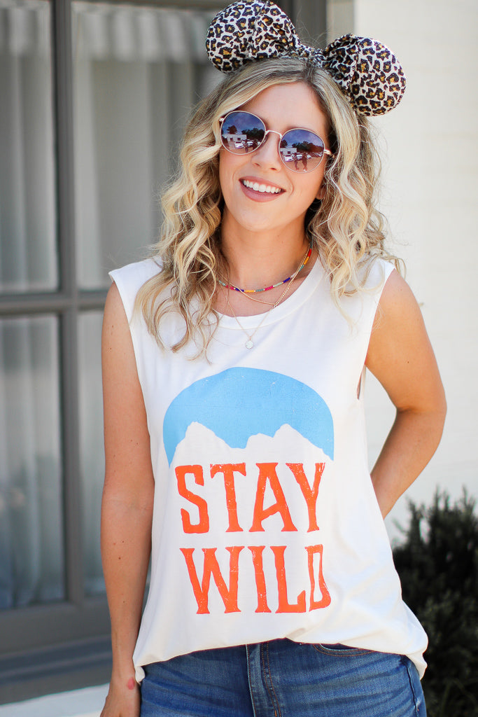 S / Ivory Stay Wild Graphic Top - Madison + Mallory