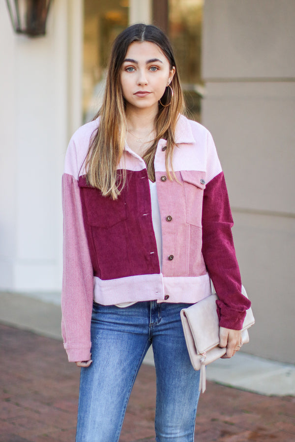 Travolta Color Block Corduroy Jacket - Mauve - Madison + Mallory