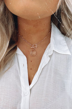 Gold Before All Else Crystal Toggle Chain Necklace - Madison and Mallory