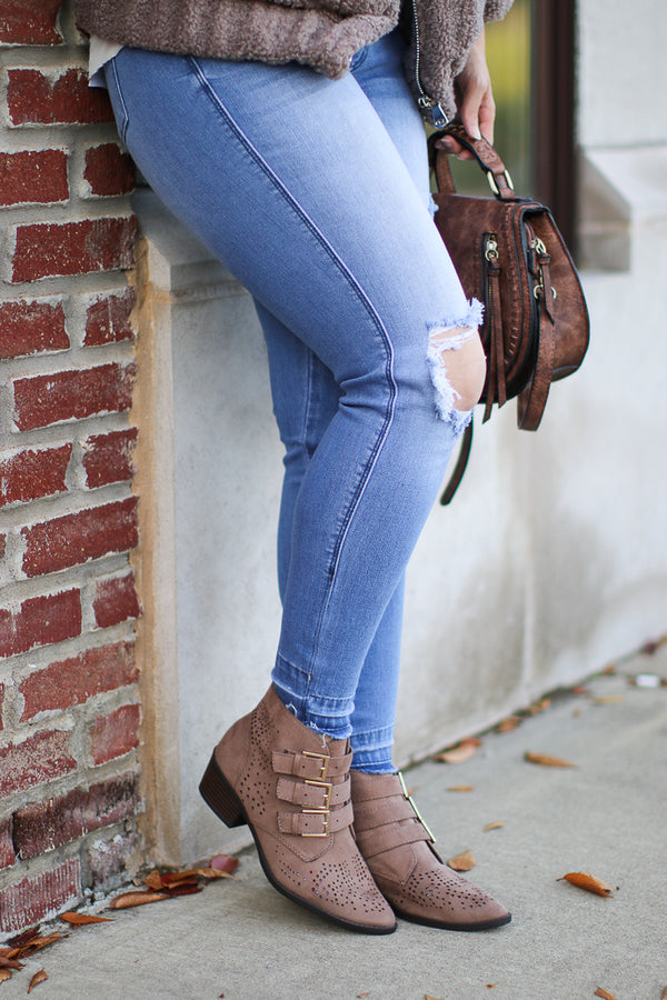 5.5 / Taupe Buckle Down Laser Cut Booties - Madison + Mallory