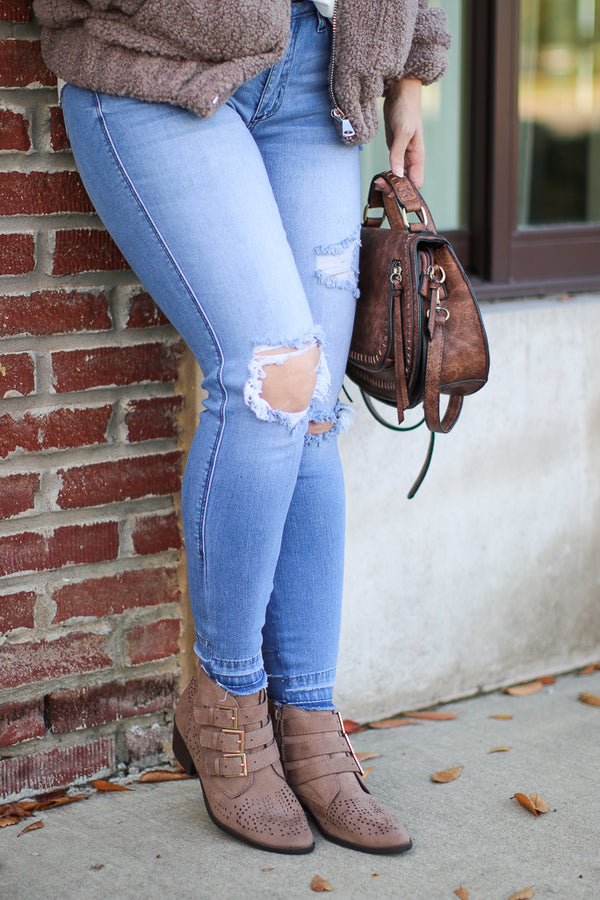 Buckle Down Laser Cut Booties - Madison + Mallory