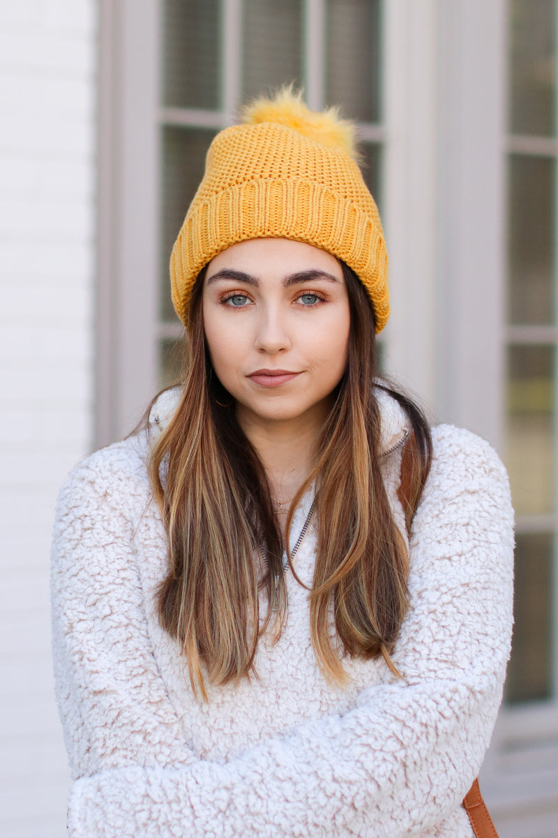 Mustard Stitch in Time Cozy Pom Pom Beanie - Mustard - Madison and Mallory