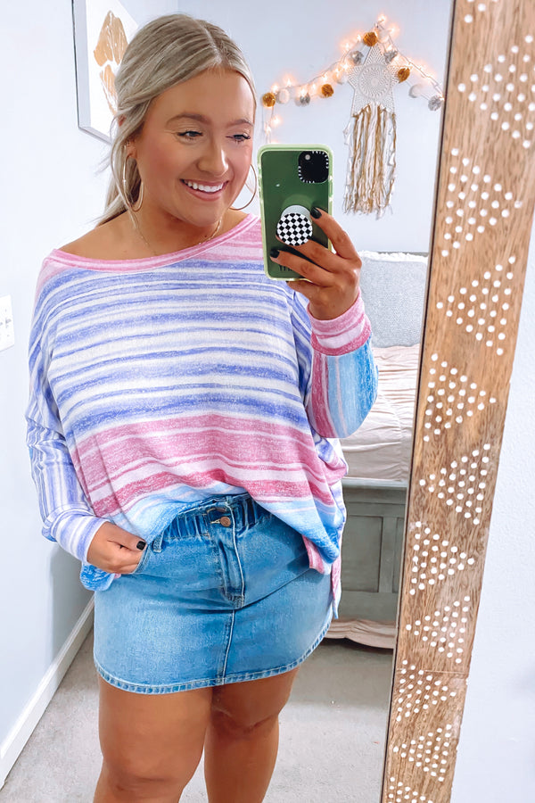 Purple / S Fine Print Multi Stripe Lightweight Knit Top - Purple - Madison and Mallory